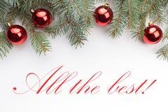 Υπόβαθρο διακοσμήσεων Χριστουγέννων με το μήνυμα ` όλο το καλύτερο! ` Στοκ εικόνα με δικαίωμα ελεύθερης χρήσης