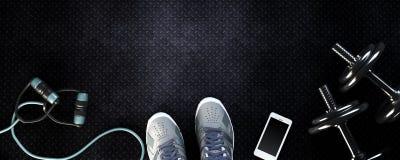 Υπόβαθρο ικανότητας με τους αλτήρες και το smartphone διανυσματική απεικόνιση