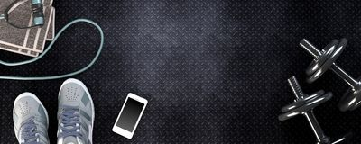 Υπόβαθρο ικανότητας με τους αλτήρες και το smartphone Στοκ φωτογραφία με δικαίωμα ελεύθερης χρήσης