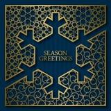 Υπόβαθρο κάλυψης καρτών χαιρετισμών εποχής με το χρυσό διακοσμητικό πλαίσιο snowflake στη μορφή Στοκ Εικόνα