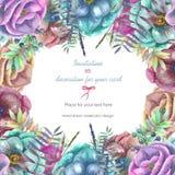 Υπόβαθρο, κάρτα προτύπων με τα λουλούδια anemone watercolor Στοκ φωτογραφίες με δικαίωμα ελεύθερης χρήσης