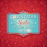 Υπόβαθρο και ετικέτα Χριστουγέννων με την προσφορά πώλησης Στοκ Φωτογραφία