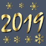 2019 υπόβαθρο καλής χρονιάς για τα εποχιακά ιπτάμενά σας διανυσματική απεικόνιση