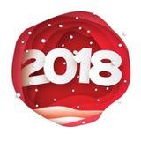 2018 υπόβαθρο καλής χρονιάς Κάρτα χαιρετισμών για τις προσκλήσεις Χριστουγέννων Το έγγραφο έκοψε τη νιφάδα χιονιού Πλαίσιο σπηλιώ απεικόνιση αποθεμάτων