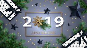 Υπόβαθρο καλής χρονιάς 2019 με τα μαύρα αστέρια, τα κιβώτια δώρων, λάμποντας χρυσό snowflake, και τους κλάδους έλατου απεικόνιση αποθεμάτων
