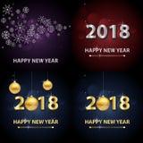 2018 υπόβαθρο καλής χρονιάς με τις ασημένια επιστολές και snowflakes Στοκ Εικόνα