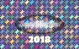 Υπόβαθρο καλής χρονιάς 2018 στα χρώματα ουράνιων τόξων απεικόνιση αποθεμάτων