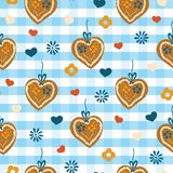 Υπόβαθρο καρδιών πιπεροριζών Lebkuchenherz Oktoberfest απεικόνιση αποθεμάτων