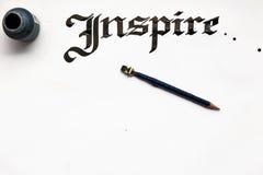 Υπόβαθρο καρτών καλλιγραφίας μελανιού Inspation στοκ εικόνες