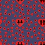 Υπόβαθρο - καρδιές και σκιαγραφίες ενός αριθμού του άνδρα και της γυναίκας Στοκ φωτογραφία με δικαίωμα ελεύθερης χρήσης