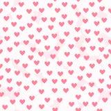Υπόβαθρο καρδιών με τα άσπρα χνουδωτά σημεία Άνευ ραφής διανυσματική ομιλία Στοκ Εικόνες
