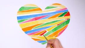 Υπόβαθρο καρδιών που επισύρεται την προσοχή από τα watercolors στο άσπρο υπόβαθρο ανασκόπησης η μπλε κιβωτίων καρδιά δώρων ημέρας φιλμ μικρού μήκους