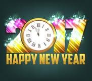 Υπόβαθρο καλής χρονιάς 2017 με το χρυσά ρολόι και τα πυροτεχνήματα διανυσματική απεικόνιση
