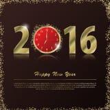 2016 υπόβαθρο καλής χρονιάς με το χρυσό ρολόι επίσης corel σύρετε το διάνυσμα απεικόνισης Στοκ φωτογραφία με δικαίωμα ελεύθερης χρήσης