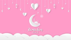 Υπόβαθρο κινούμενων σχεδίων Ramadan kareem, έννοια σχεδίου φεστιβάλ απεικόνιση αποθεμάτων