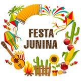 Υπόβαθρο κινούμενων σχεδίων junina Festa με το διακοσμητικό πλαίσιο Διακοπές λαογραφίας χαρακτήρες Στοκ Φωτογραφίες