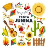Υπόβαθρο κινούμενων σχεδίων junina Festa με το διακοσμητικό πλαίσιο Διακοπές λαογραφίας Στοκ Φωτογραφία