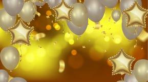 Υπόβαθρο κομμάτων εορτασμού με τα μπαλόνια και serpentine χαιρετήστε ελεύθερη απεικόνιση δικαιώματος