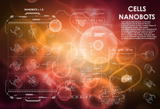 Υπόβαθρο κυττάρων με τα φουτουριστικά στοιχεία διεπαφών HUD UI για ιατρικό app Φουτουριστικό ενδιάμεσο με τον χρήστη μοριακός Στοκ Φωτογραφίες