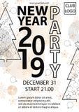 2019 υπόβαθρο κόμματος καλής χρονιάς για τα εποχιακές ιπτάμενα και την κάρτα χαιρετισμών σας ελεύθερη απεικόνιση δικαιώματος