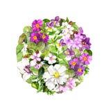Υπόβαθρο κύκλων - floral σχέδιο με τα λουλούδια Αναδρομικό watercolor Στοκ φωτογραφία με δικαίωμα ελεύθερης χρήσης