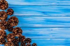 Υπόβαθρο - κώνοι στις σανίδες Στοκ Εικόνες