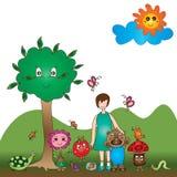 Υπόβαθρο μασκότ παιδιών απεικόνιση αποθεμάτων