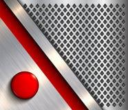 Υπόβαθρο μεταλλικό με το κόκκινο κουμπί ελεύθερη απεικόνιση δικαιώματος