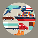 Υπόβαθρο μεταφορών φορτίου φορτίου στο επίπεδο σχέδιο Στοκ εικόνες με δικαίωμα ελεύθερης χρήσης