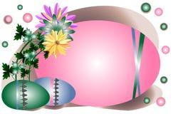 Υπόβαθρο με τα αυγά και τα λουλούδια για τις ευχετήριες κάρτες για Πάσχα Στοκ εικόνες με δικαίωμα ελεύθερης χρήσης