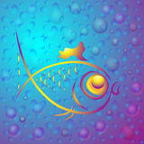 Υπόβαθρο με τα αφηρημένα χρυσά ψάρια Στοκ Φωτογραφίες