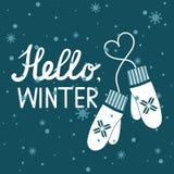 Υπόβαθρο με τα γάντια, το χιόνι και το κείμενο ελεύθερη απεικόνιση δικαιώματος