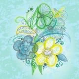 Υπόβαθρο με τα εκλεκτής ποιότητας λουλούδια Στοκ Εικόνα