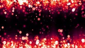 Υπόβαθρο με τα λαμπρά κόκκινα μόρια Όμορφο ελαφρύ υπόβαθρο bokeh Κόκκινο κομφετί που λαμπυρίζει με το μαγικό φως σπινθηρίσματος απόθεμα βίντεο