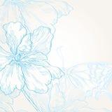 Υπόβαθρο με τα λουλούδια και την πεταλούδα Στοκ Εικόνες