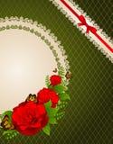 Υπόβαθρο με τα λουλούδια και τις διακοσμήσεις Στοκ Εικόνες