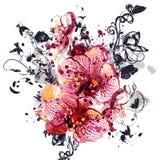 Υπόβαθρο με τα λουλούδια ορχιδεών στο ύφος watercolor που χρωματίζονται Στοκ Φωτογραφία