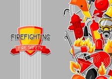 Υπόβαθρο με τα πυροσβεστικά στοιχεία αυτοκόλλητων ετικεττών Εξοπλισμός πυροπροστασίας ελεύθερη απεικόνιση δικαιώματος