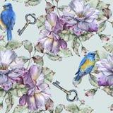 Υπόβαθρο με τα τριαντάφυλλα και τα μπλε πουλιά πρότυπο άνευ ραφής Στοκ Εικόνες