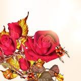 Υπόβαθρο με τα τριαντάφυλλα και τα γυναικεία πουλιά Στοκ φωτογραφία με δικαίωμα ελεύθερης χρήσης