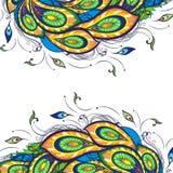 Υπόβαθρο με τα τυποποιημένα φτερά peacock διανυσματική απεικόνιση