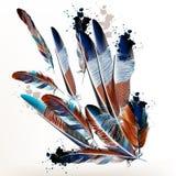Υπόβαθρο με τα φτερά στο ρεαλιστικό ύφος Στοκ φωτογραφία με δικαίωμα ελεύθερης χρήσης