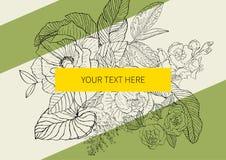 Υπόβαθρο με τα φύλλα και τα λουλούδια για τον ιστοχώρο Στοκ Εικόνες