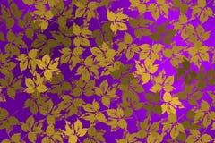 Υπόβαθρο με τα χρυσά φύλλα πέρα από τη βιολέτα backlight Στοκ Φωτογραφίες