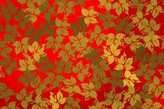 Υπόβαθρο με τα χρυσά φύλλα πέρα από το φωτεινό κόκκινο υπόβαθρο Στοκ Εικόνα