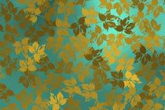 Υπόβαθρο με τα χρυσά φύλλα πέρα από το φωτεινό μπλε υπόβαθρο Στοκ εικόνες με δικαίωμα ελεύθερης χρήσης