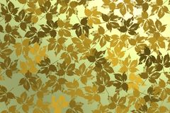 Υπόβαθρο με τα χρυσά φύλλα πέρα από το φωτεινό backlight Στοκ εικόνα με δικαίωμα ελεύθερης χρήσης