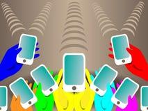 Υπόβαθρο με τα χρωματισμένα κινητά τηλέφωνα Στοκ Εικόνες