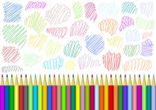 Υπόβαθρο με τα χρωματισμένα μολύβια ελεύθερη απεικόνιση δικαιώματος
