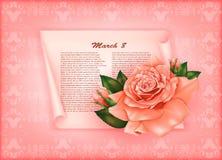 Υπόβαθρο με τα όμορφα τριαντάφυλλα κρητιδογραφιών Στοκ φωτογραφίες με δικαίωμα ελεύθερης χρήσης